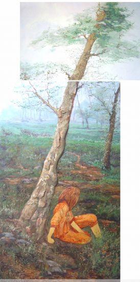 paisaje bosque con figura sobre madera