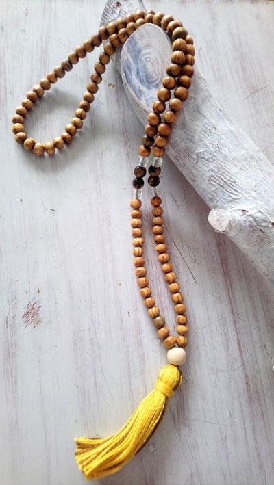 Mala- rosario-tibetano-madera -cristal claquelado -piedras