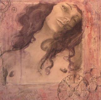 cuadro figura pintado sobre madera