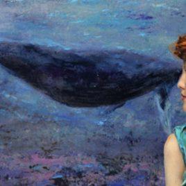 cuadro figurativo sirena y ballena 50 x 100