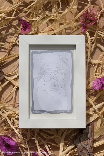 lamina enmarcada arcángel Gabriel rayo blanco