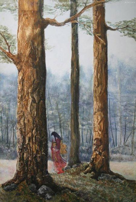 bosque azul cuadro realizado sobre madera