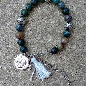brazalete/piedra de ágata /angel