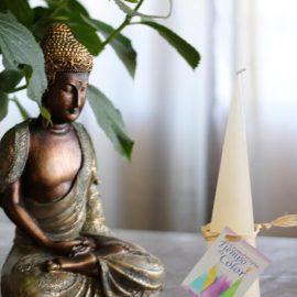 vela blanca cromoterapia aromática