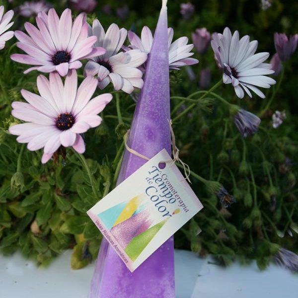 vela aromática violeta cromoterapia